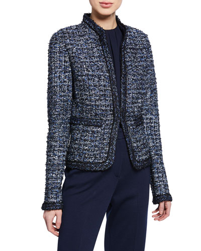Novelty Ribbon Tweed Knit Jacket with Pockets