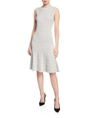 Graphic Ottoman Sleeveless Fit-&-Flare Dress w/ Cutout Back