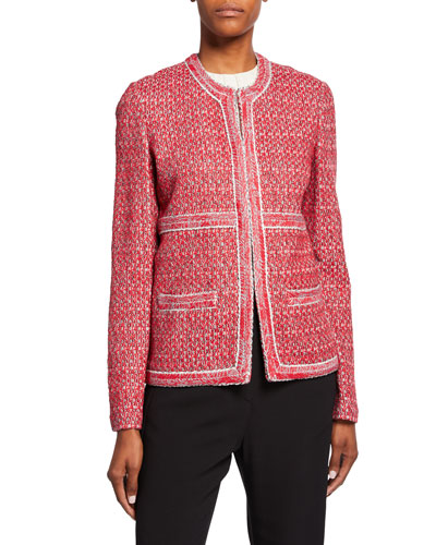 Artisinal Basket Weave Drop-Shoulder Jacket w/ Trim Detail
