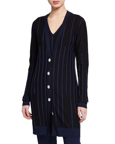 Plaited Engineered Rib Knit Button-Front Cardigan