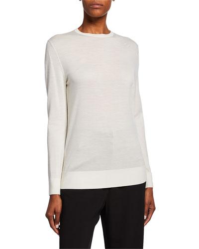 Extrafine Merino Wool Crewneck Jersey Sweater