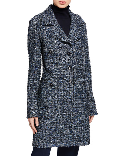 Novelty Ribbon Tweed Button-Front Jacket w/ Fringe Trim