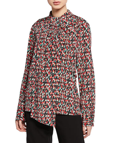 Speckled-Print Stretch-Silk Blouse w/ Drape-Neck