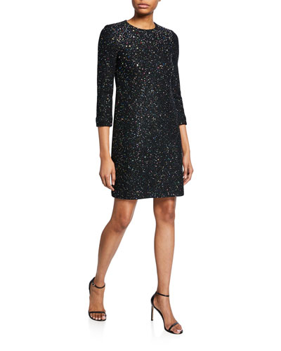 Confetti Sequin 3/4-Sleeve Sheath Dress