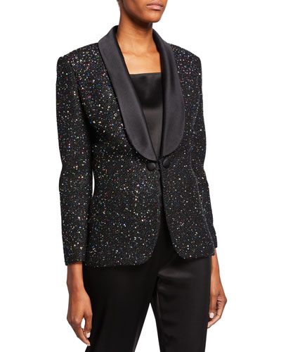 Confettin Sequin Jacket with Duchess Satin Shawl Collar