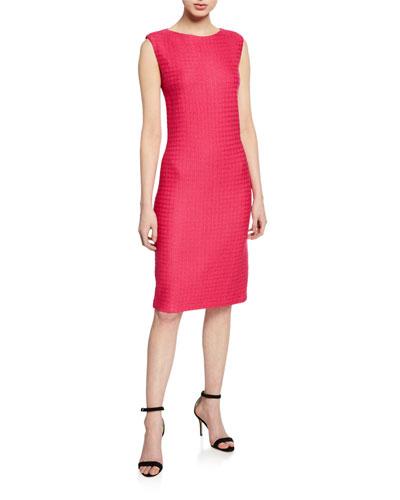Box Textured Sleeveless Bateau-Neck Dress