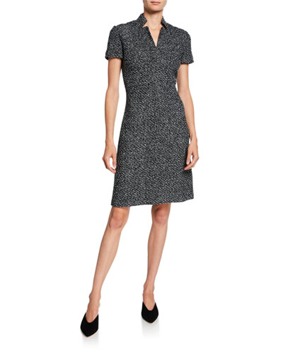 Short-Sleeve Textured Boucle Tweed Dress with Inverted Collar