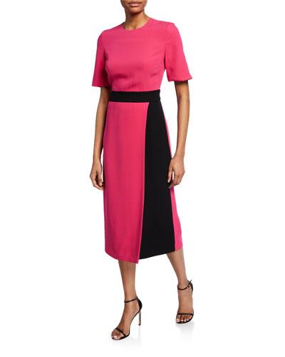 Crewneck Elbow-Sleeve Heavy Georgette Dress w/ Contrast Wrap Detail