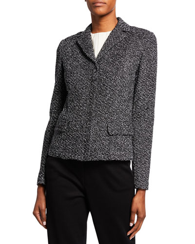 Textured Boucle Tweed Jacket with Flap Pockets