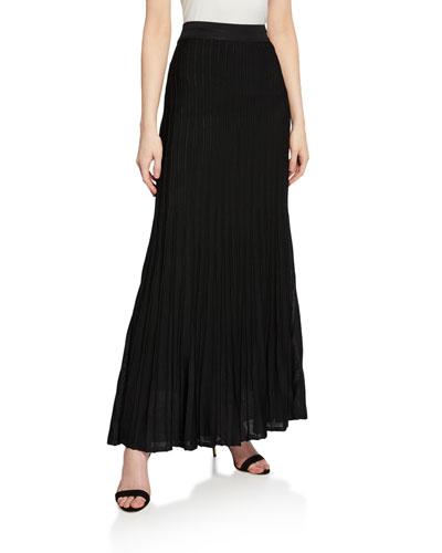 Engineered Ottoman Plisse Knit Maxi Skirt