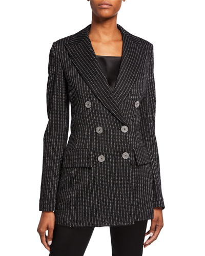 Evening Paillette Pinstripe Double-Breasted Notch-Collar Jacket