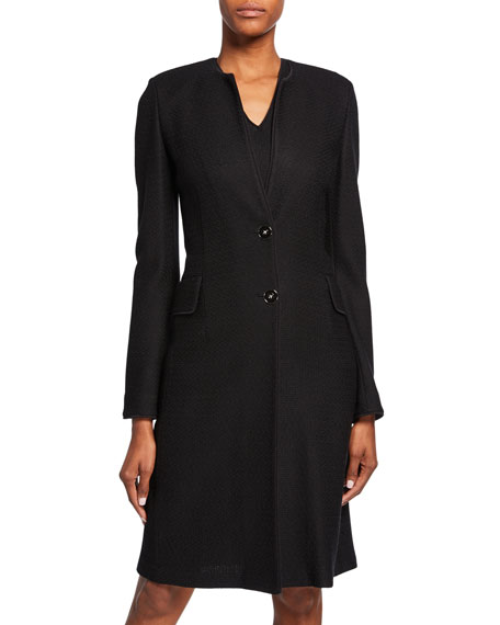 St. John Collection Refined Textured Float Knit Two-Button Jacket w/ Piping Detail