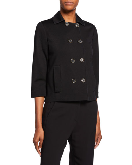 St. John Collection Milano Knit Double-Breasted 3/4-Sleeve Jacket w/ Pockets