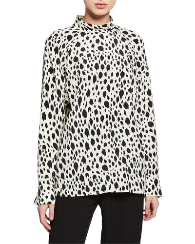 Snow Leopard Print Long-Sleeve Top with Stand Collar