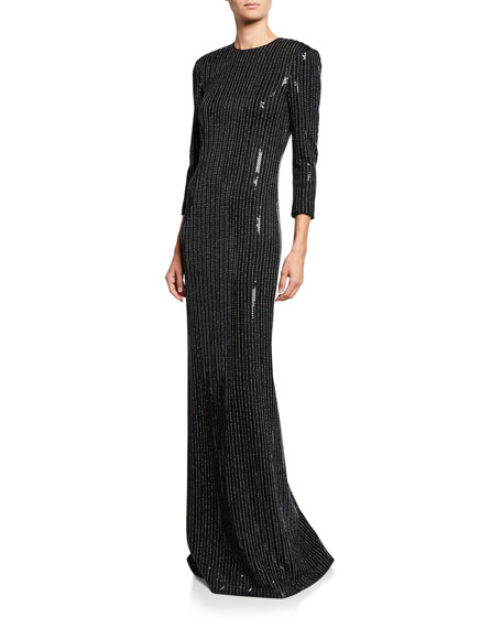 St. John Collection Paillette Pinstripe 3/4-Sleeve Column Gown with Back Slit