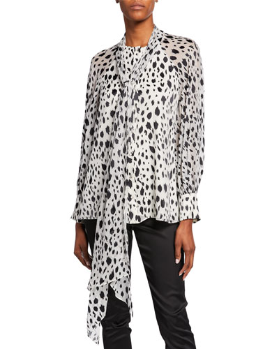 Snow Leopard-Print Devore Blouse with Chiffon Scarf