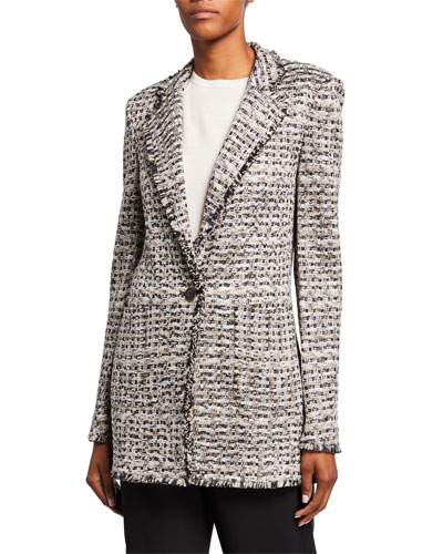 Space-Dyed Tweed Knit Jacket with Patch Pockets