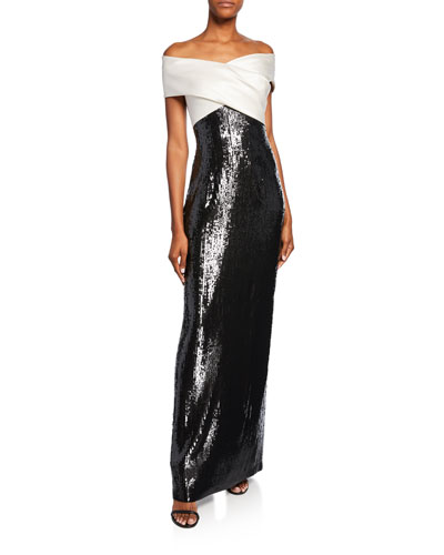 Layered Sequin Off-the-Shoulder Silk Georgette Gown w/ Slit