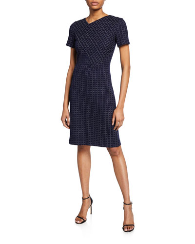 Graphic Boucle Windowpane Knit Asymmetric-Neck Dress