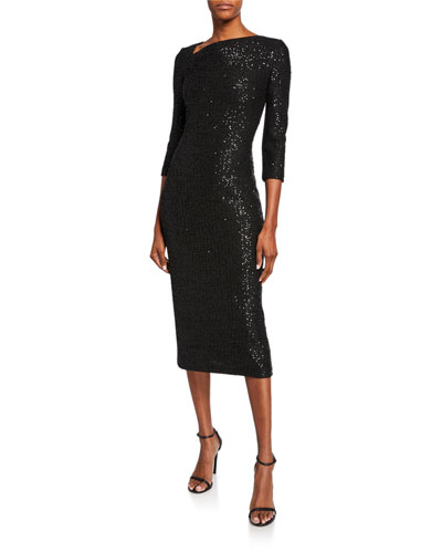 Statement Sequin Asymmetric-Neck 3/4-Sleeve Dress