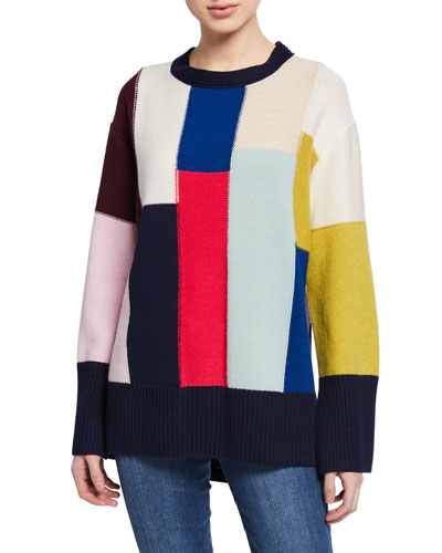 Patchwork Wool/Cashmere High-Low Sweater w/-Sleeve Slits