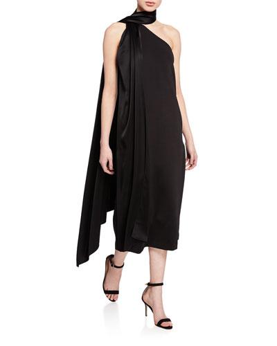 One-Shoulder Sleeveless Midi Dress w/ Liquid Satin Neck Tie