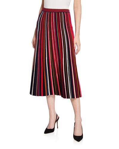 Multicolored Fine Gauge Knit Plisse Skirt