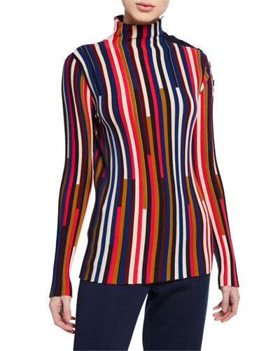 Multicolor Fine Gauge Mock-Neck Sweater w/ Shoulder Placket