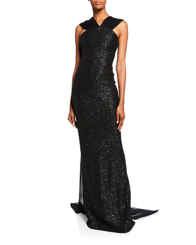 Sequin Statement Sleeveless Gown with Silk Chiffon Train