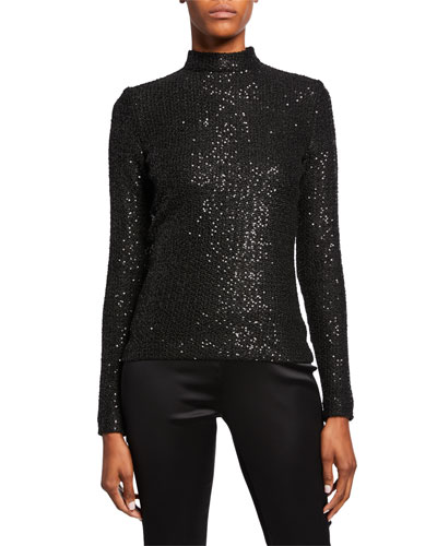 Statement Sequin Mock-Neck Top with Zipper Sleeves