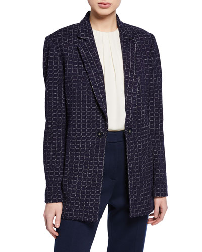 Graphic Boucle Windowpane Knit Jacket