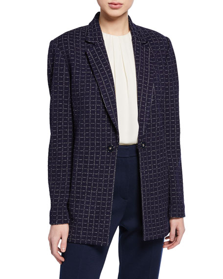St. John Collection Graphic Boucle Windowpane Knit Jacket