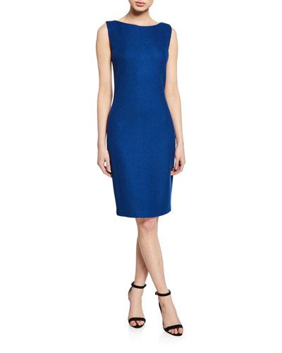 Bateau-Neck Gridded Texture Sleeveless Sheath Dress