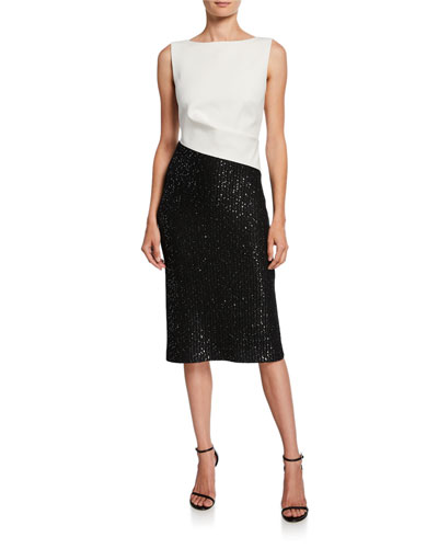 Colorblock Sleeveless Tuxedo Bodice Dress w/ Sequin Rib Knit Skirt