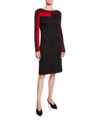 Colorblock Long-Sleeve Pique Milano Knit Dress