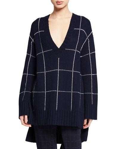 V-Neck Windowpane High-Low Sweater