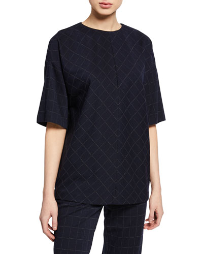 Windowpane Elbow-Sleeve Double-Face Jersey Top