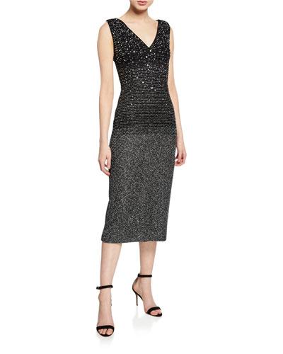 Sequined Ombre Metallic Tweed Sleeveless Cocktail Dress
