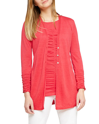 Button-Front Ruched Long-Sleeve Cardigan