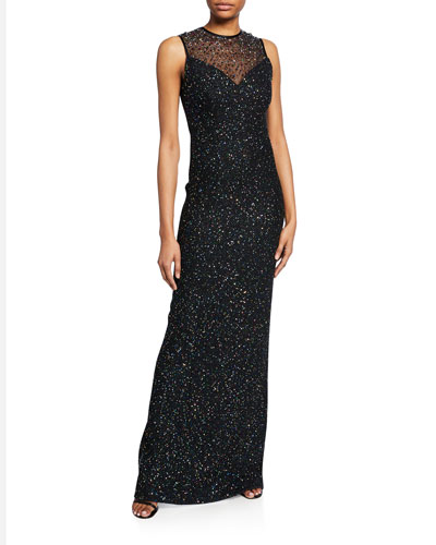 Confetti Sequin Sweetheart-Illusion Sleeveless Column Gown