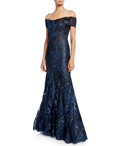 Metallic Lace Off-the-Shoulder Short-Sleeve Mermaid Gown