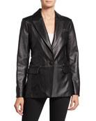 Neiman Marcus Leather Collection Lambskin Leather Boyfriend