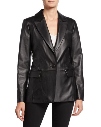 Lambskin Leather Boyfriend Blazer