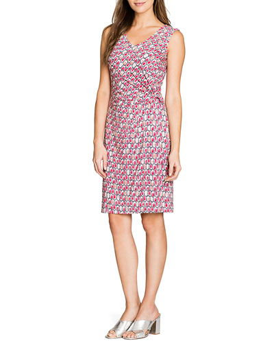 Plus Size Bright-Stone Printed Twist Knit Sleeveless Dress