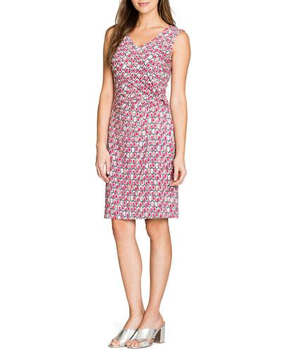 Petite Bright-Stone Printed Twist Knit Sleeveless Dress