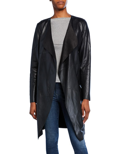 Patchwork Lambskin Leather Topper Jacket