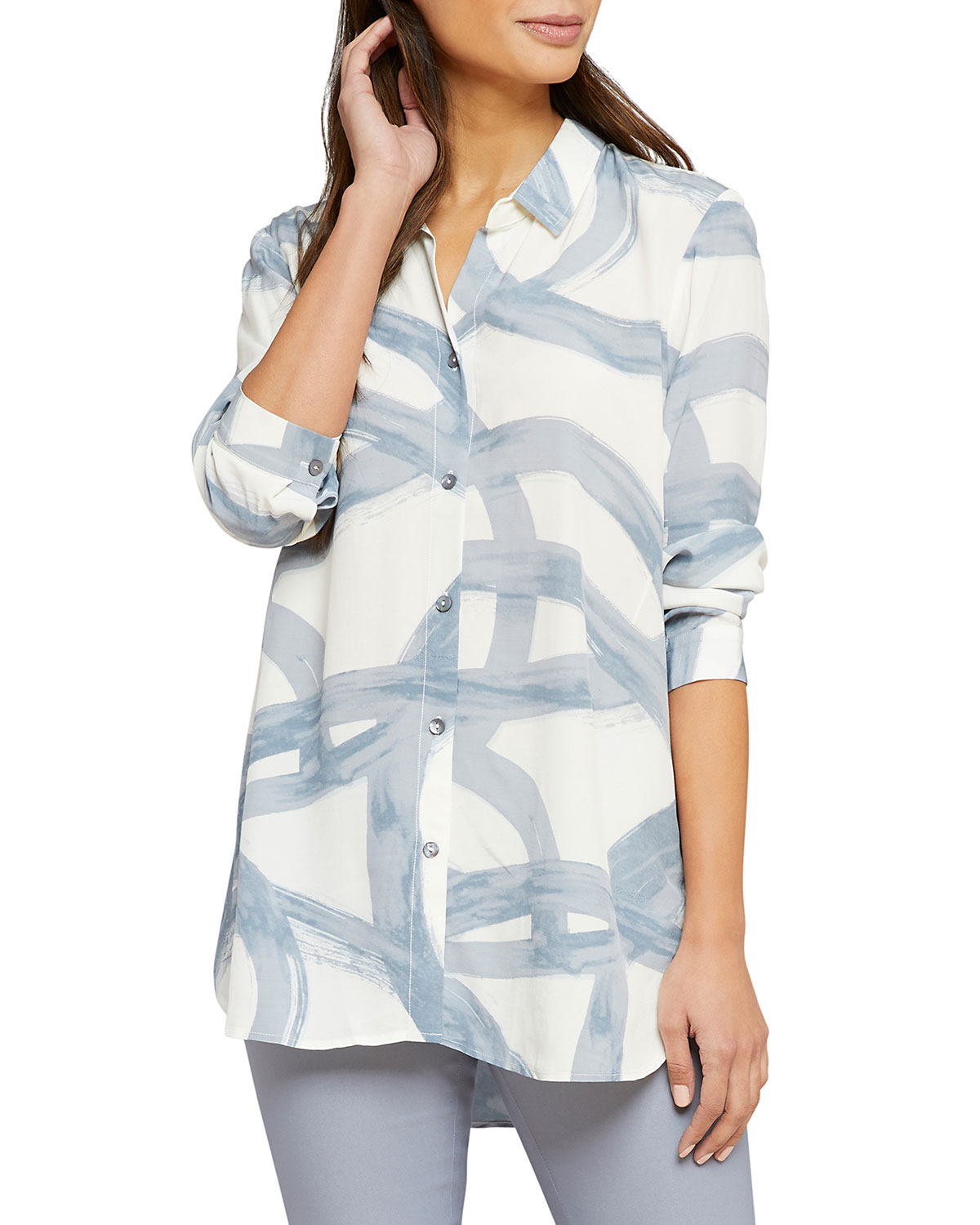 Nic+zoe T-shirts PLUS SIZE ROUND ABOUT PRINTED LONG-SLEEVE BUTTON-FRONT SHIRT