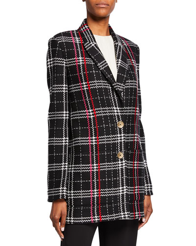 Two-Button Bold Plaid Jacket with Patch Pockets
