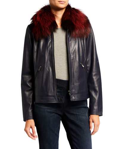 Center Zip Leather Moto Jacket with Fur Collar