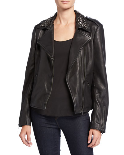 Embellished Collar Leather Moto Jacket